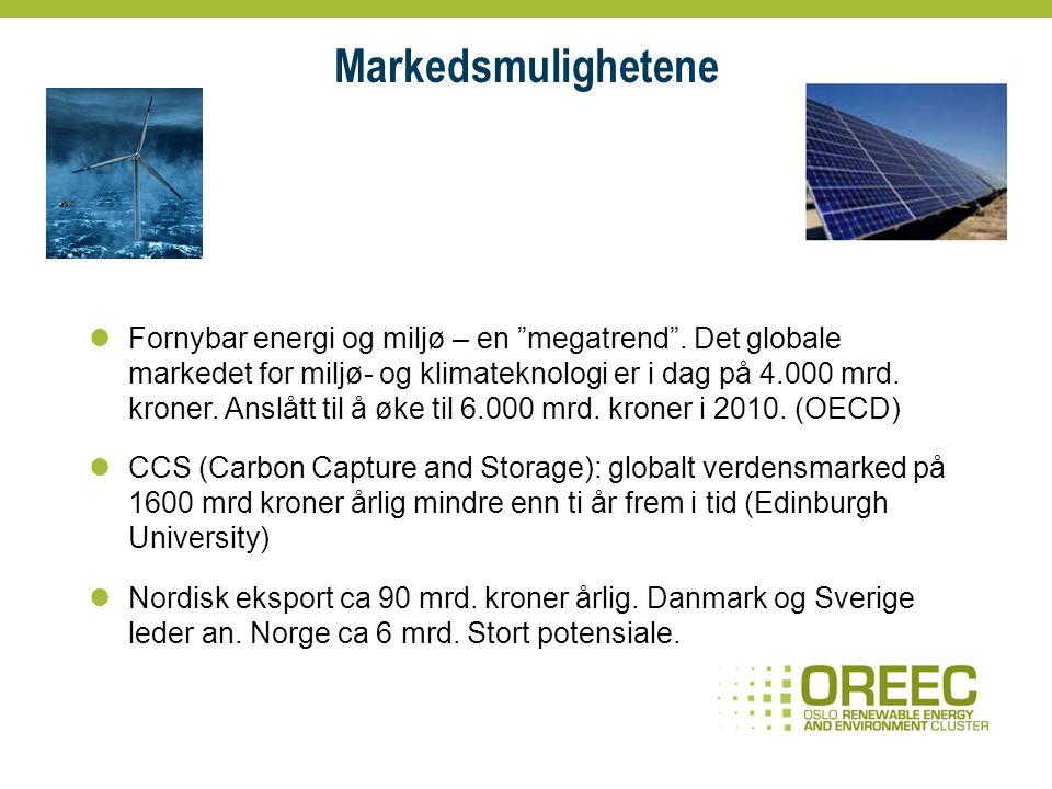 Bakgrunn – satsing på fornybar energi og miljø Kunnskapsbyen Lillestrøm Noen sentrale virksomheter i Lillestrøm- området samlet seg om et ønske om å utvikle en fokusert satsing innenfor fornybar energi og miljø Innovasjon Norge Satsing på klynger en viktig strategi i hovedstadsregionen Oslo Teknopol Hovedstadsprosjektet Kartlegging gjennomført av Sintef MRB Kompetanse, rekruttering og marked virksomhetenes hovedutfordringer Stor interesse for å delta i et nettverkssamarbeid Bioenergi, enøk, CO2, sol og avfall viktige områder