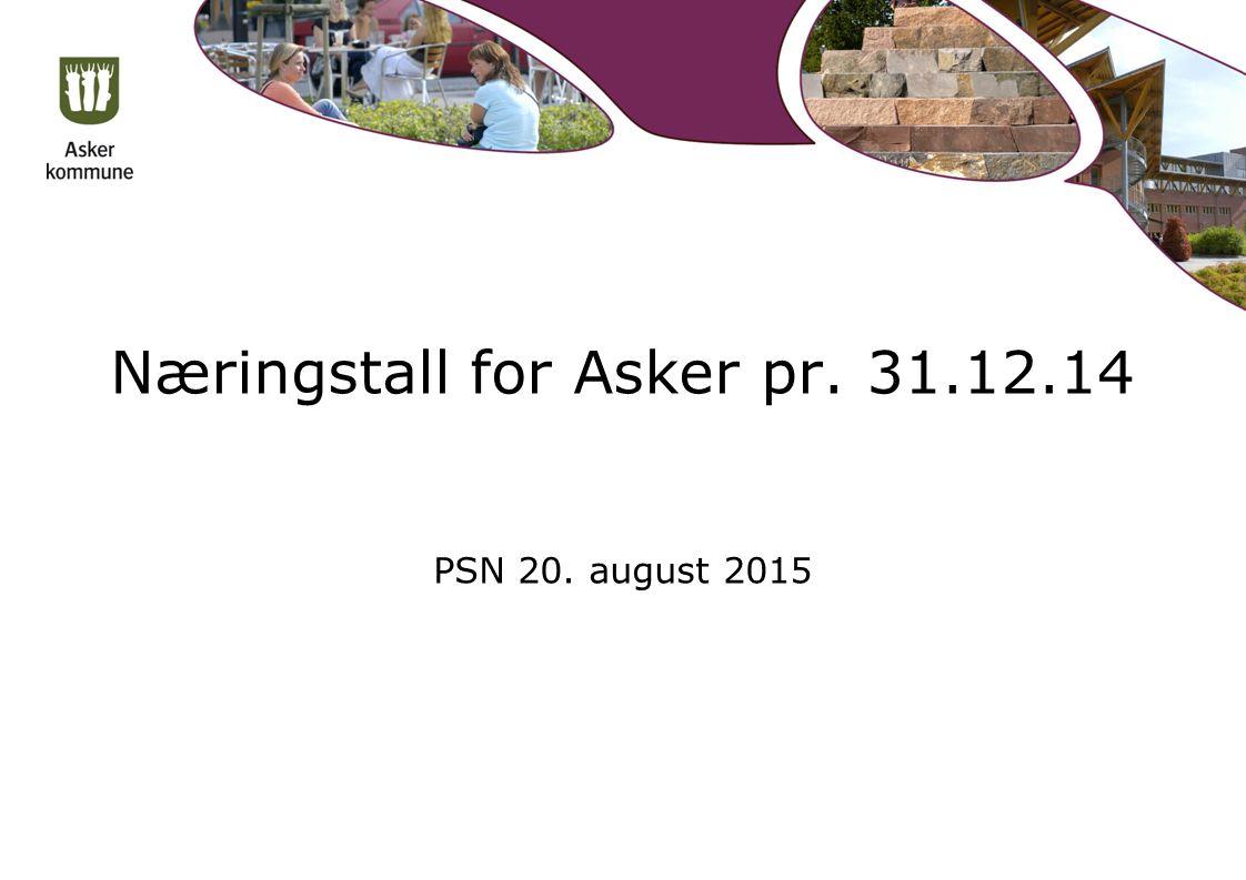 Næringstall for Asker pr. 31.12.14 PSN 20. august 2015