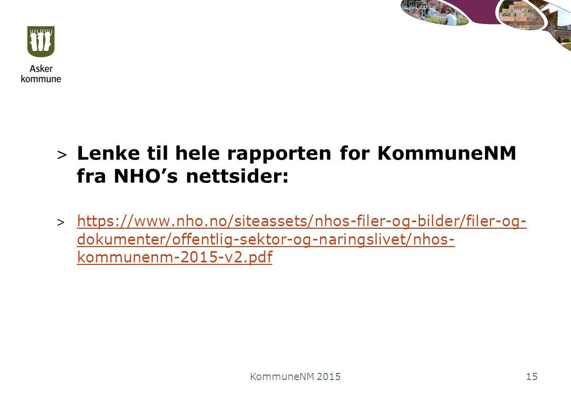 > Lenke til hele rapporten for KommuneNM fra NHO's nettsider: > https://www.nho.no/siteassets/nhos-filer-og-bilder/filer-og- dokumenter/offentlig-sektor-og-naringslivet/nhos- kommunenm-2015-v2.pdf https://www.nho.no/siteassets/nhos-filer-og-bilder/filer-og- dokumenter/offentlig-sektor-og-naringslivet/nhos- kommunenm-2015-v2.pdf KommuneNM 201515