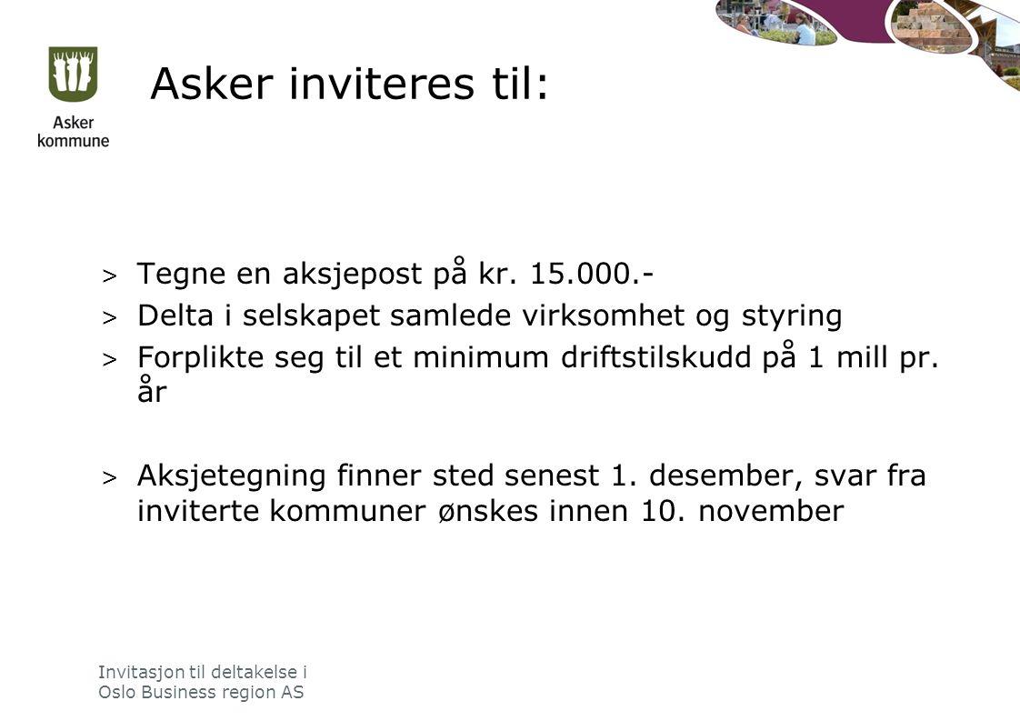 Asker inviteres til: > Tegne en aksjepost på kr.