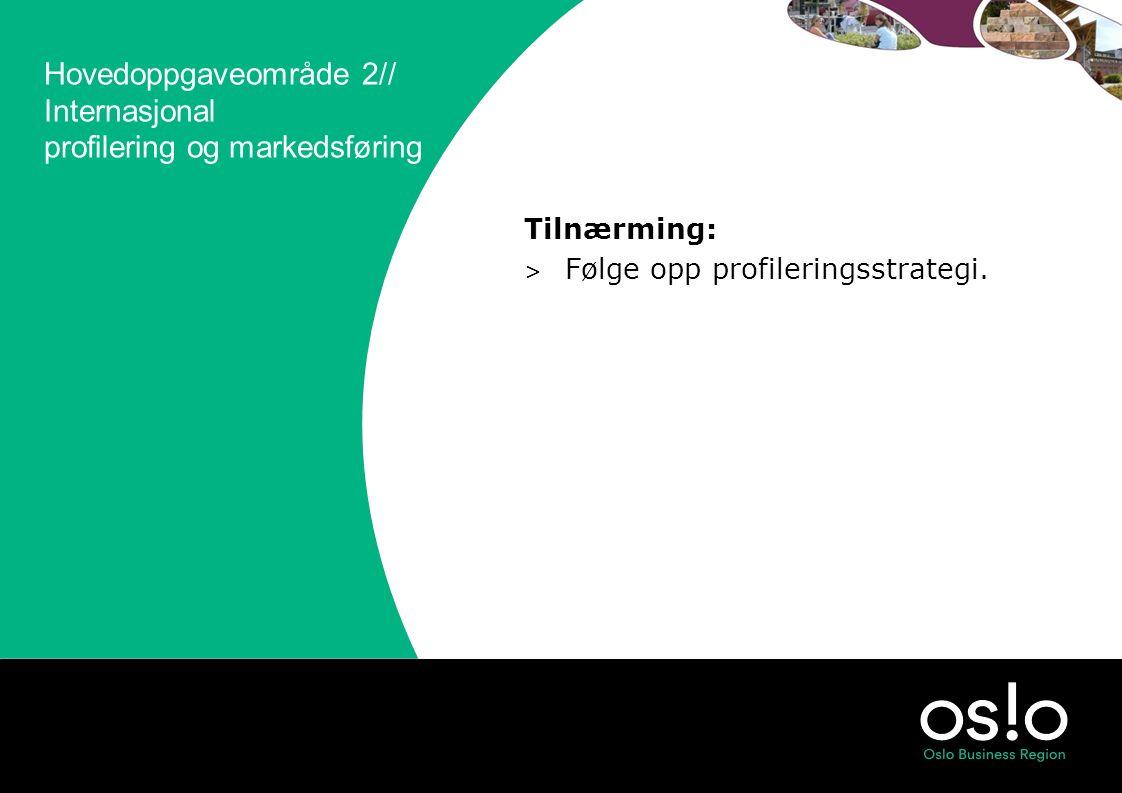 Hovedoppgaveområde 2// Internasjonal profilering og markedsføring Tilnærming: > Følge opp profileringsstrategi.