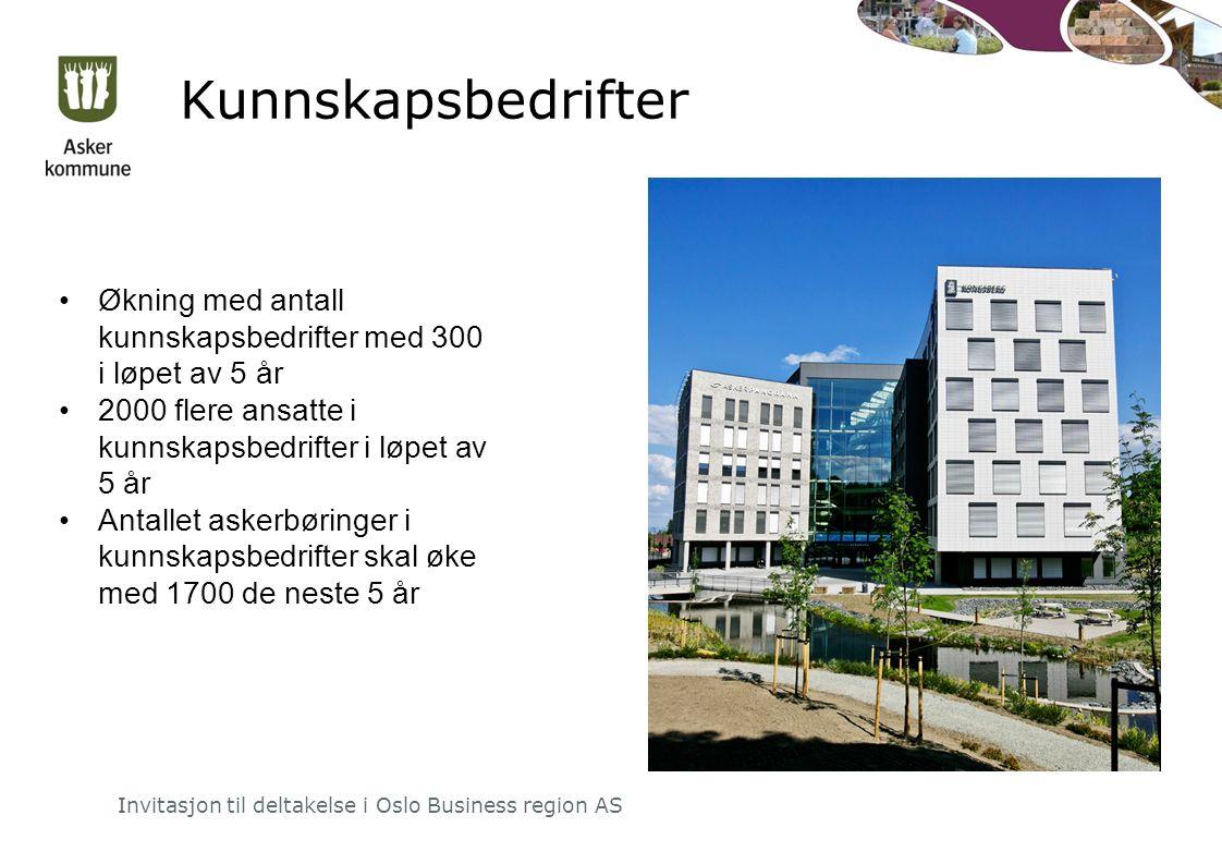 Kunnskapsbedrifter Invitasjon til deltakelse i Oslo Business region AS Økning med antall kunnskapsbedrifter med 300 i løpet av 5 år 2000 flere ansatte i kunnskapsbedrifter i løpet av 5 år Antallet askerbøringer i kunnskapsbedrifter skal øke med 1700 de neste 5 år