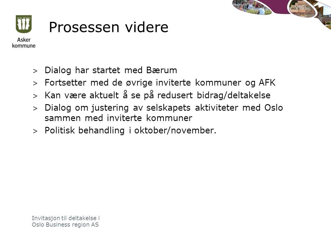 Prosessen videre > Dialog har startet med Bærum > Fortsetter med de øvrige inviterte kommuner og AFK > Kan være aktuelt å se på redusert bidrag/deltakelse > Dialog om justering av selskapets aktiviteter med Oslo sammen med inviterte kommuner > Politisk behandling i oktober/november.