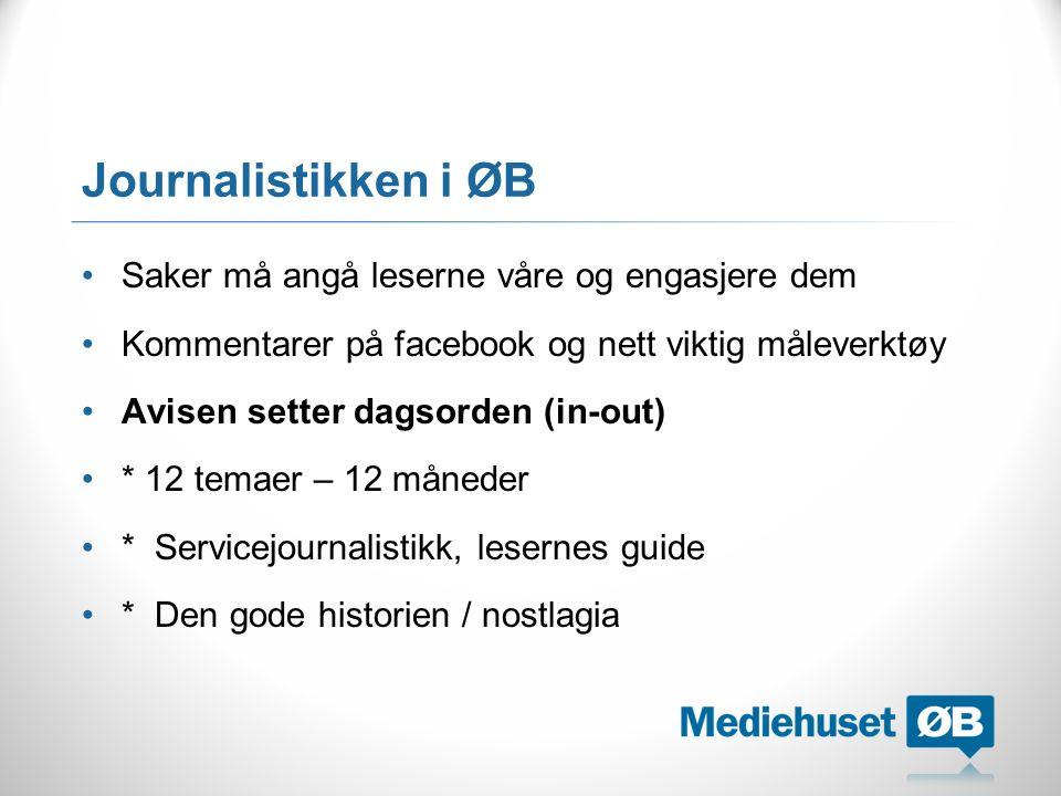 Journalistikken i ØB Saker må angå leserne våre og engasjere dem Kommentarer på facebook og nett viktig måleverktøy Avisen setter dagsorden (in-out) *