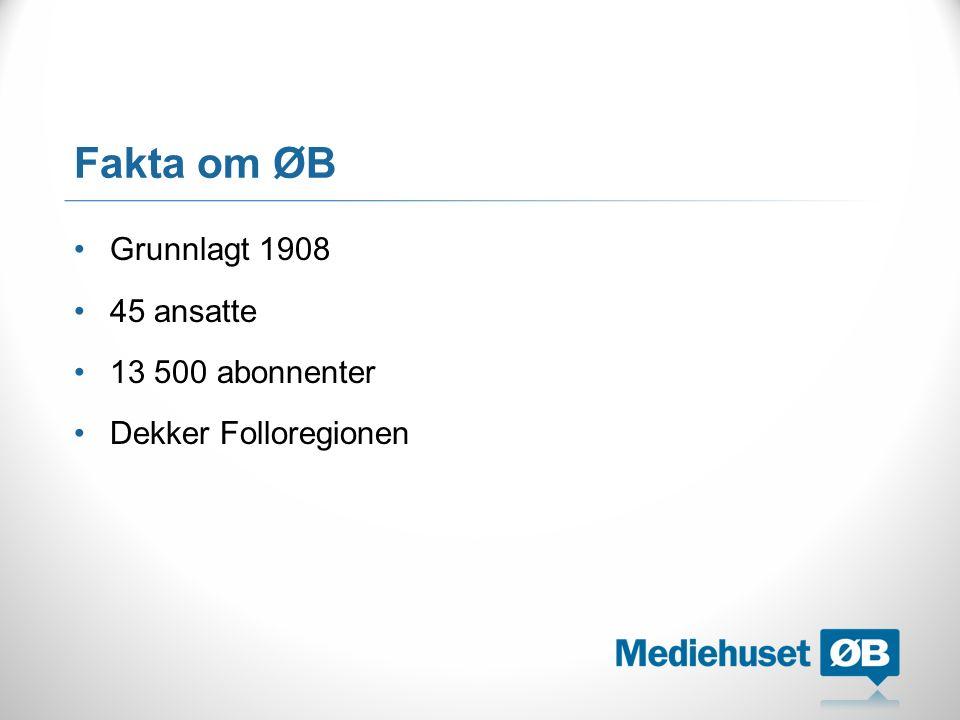 Fakta om ØB Grunnlagt 1908 45 ansatte 13 500 abonnenter Dekker Folloregionen