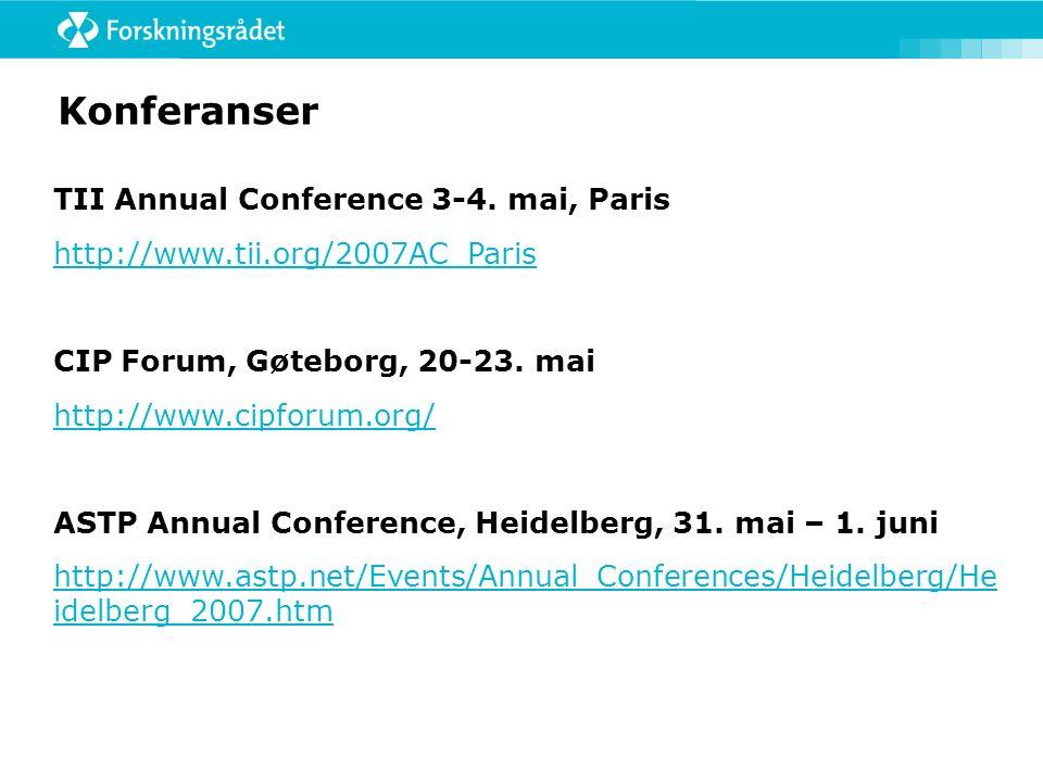 Konferanser TII Annual Conference 3-4.