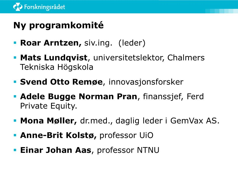 Ny programkomité  Roar Arntzen, siv.ing.