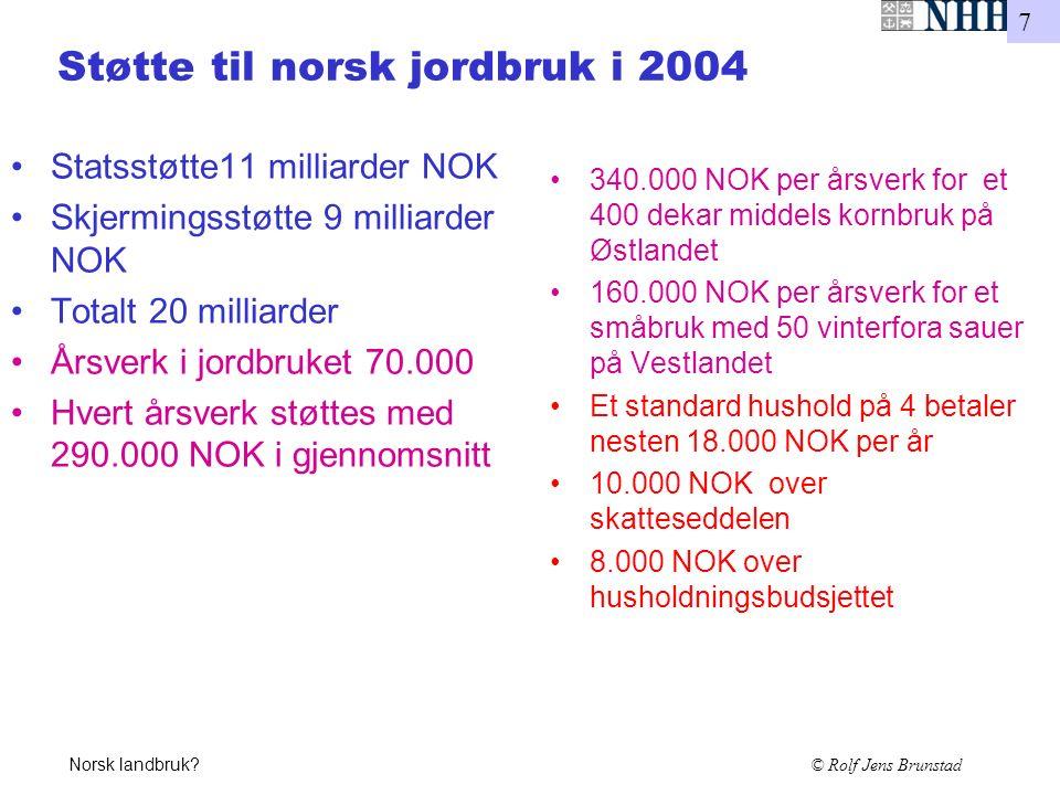 7 Norsk landbruk? © Rolf Jens Brunstad Støtte til norsk jordbruk i 2004 Statsstøtte11 milliarder NOK Skjermingsstøtte 9 milliarder NOK Totalt 20 milli