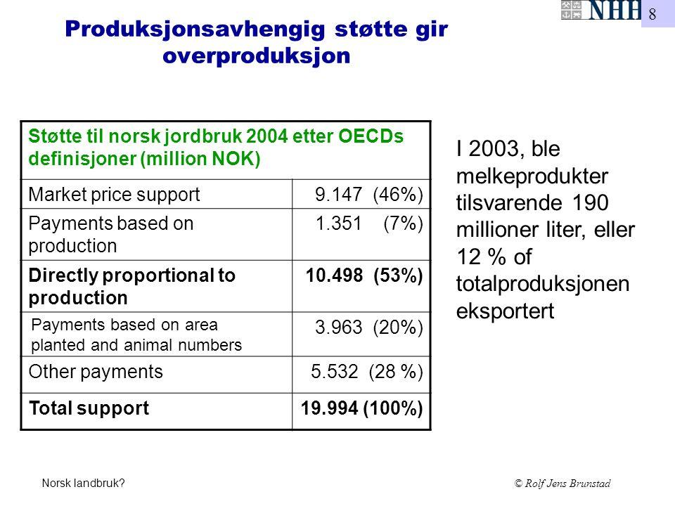 8 Norsk landbruk? © Rolf Jens Brunstad Produksjonsavhengig støtte gir overproduksjon Støtte til norsk jordbruk 2004 etter OECDs definisjoner (million