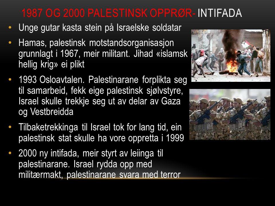 Unge gutar kasta stein på Israelske soldatar Hamas, palestinsk motstandsorganisasjon grunnlagt i 1967, meir militant. Jihad «islamsk hellig krig» ei p