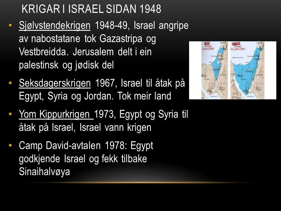 Sjølvstendekrigen 1948-49, Israel angripe av nabostatane tok Gazastripa og Vestbreidda. Jerusalem delt i ein palestinsk og jødisk del Seksdagerskrigen