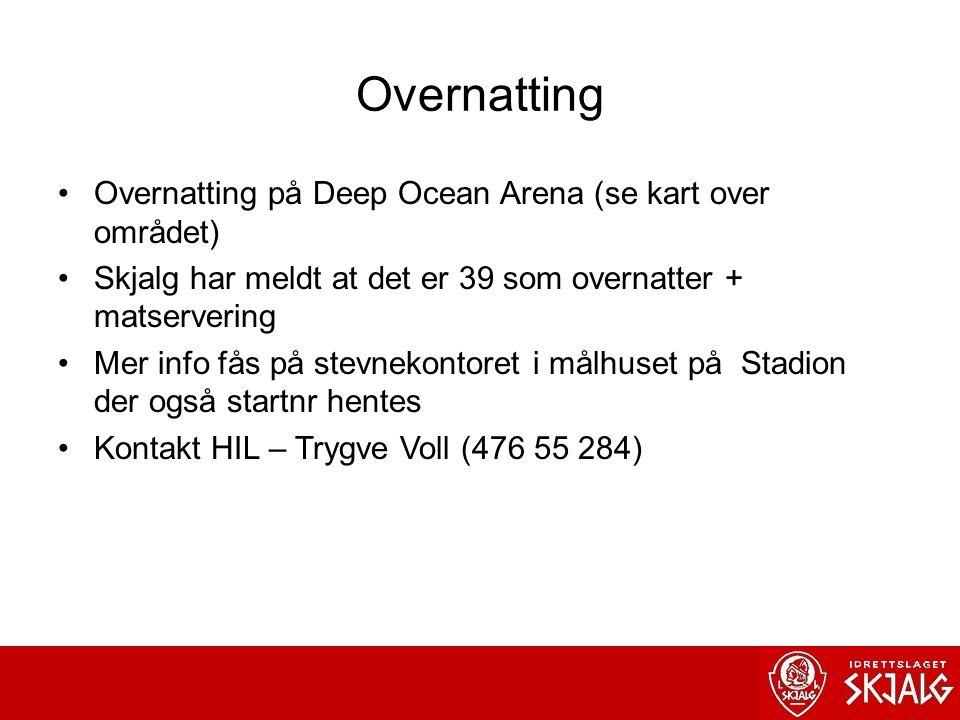 Overnatting Overnatting på Deep Ocean Arena (se kart over området) Skjalg har meldt at det er 39 som overnatter + matservering Mer info fås på stevnekontoret i målhuset på Stadion der også startnr hentes Kontakt HIL – Trygve Voll (476 55 284)