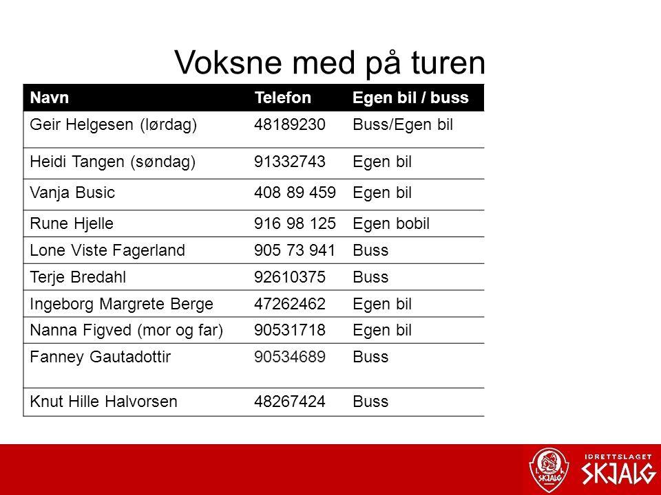 Voksne med på turen NavnTelefonEgen bil / buss Geir Helgesen (lørdag)48189230Buss/Egen bil Heidi Tangen (søndag)91332743Egen bil Vanja Busic408 89 459Egen bil Rune Hjelle916 98 125Egen bobil Lone Viste Fagerland905 73 941Buss Terje Bredahl92610375Buss Ingeborg Margrete Berge47262462Egen bil Nanna Figved (mor og far)90531718Egen bil Fanney Gautadottir90534689Buss Knut Hille Halvorsen48267424Buss