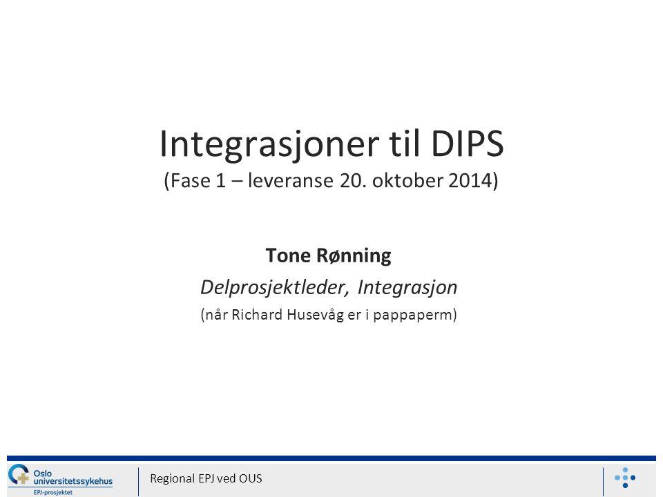 1.Hvilke systemer blir integrert til DIPS (fase 1 – leveres 20.