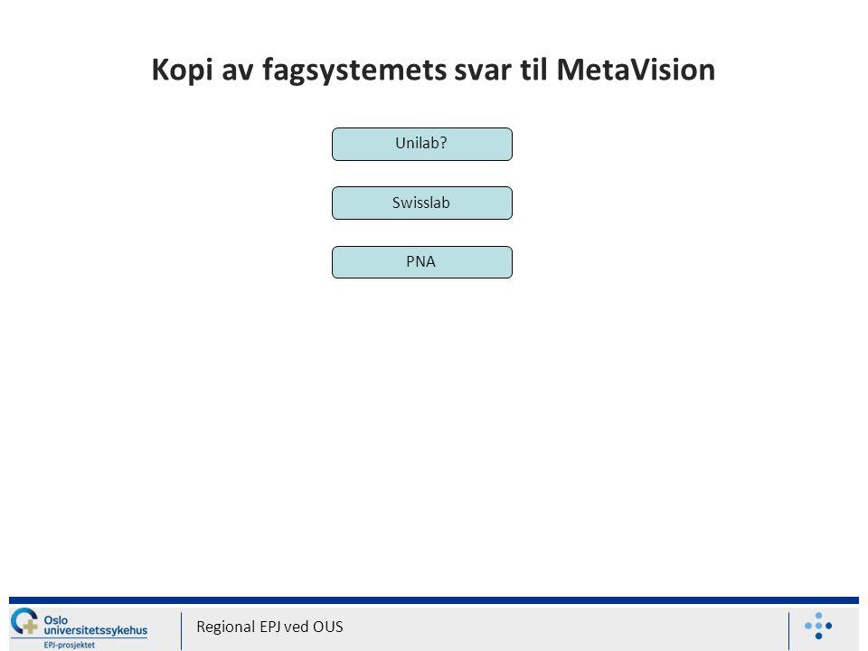 Kopi av fagsystemets svar til MetaVision Regional EPJ ved OUS Unilab? Swisslab PNA