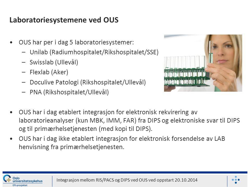 Laboratoriesystemene ved OUS OUS har per i dag 5 laboratoriesystemer: –Unilab (Radiumhospitalet/Rikshospitalet/SSE) –Swisslab (Ullevål) –Flexlab (Aker) –Doculive Patologi (Rikshospitalet/Ullevål) –PNA (Rikshospitalet/Ullevål) OUS har i dag etablert integrasjon for elektronisk rekvirering av laboratorieanalyser (kun MBK, IMM, FAR) fra DIPS og elektroniske svar til DIPS og til primærhelsetjenesten (med kopi til DIPS).