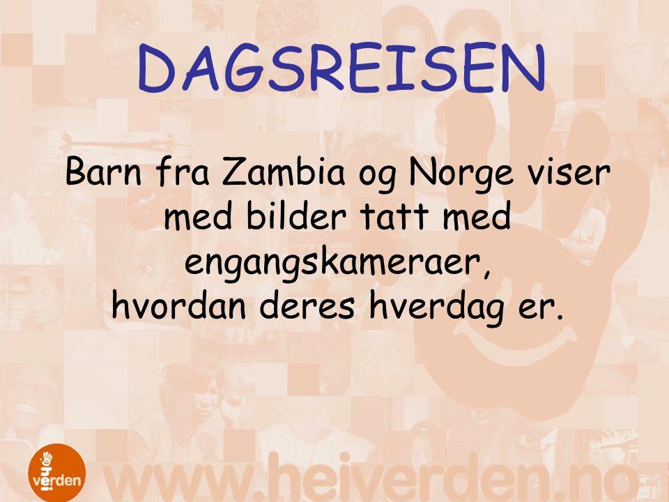 DAGSREISEN Barn fra Zambia og Norge viser med bilder tatt med engangskameraer, hvordan deres hverdag er.