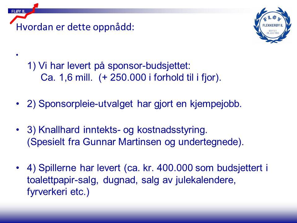 FLØY IL Hvordan er dette oppnådd: 1) Vi har levert på sponsor-budsjettet: Ca. 1,6 mill. (+ 250.000 i forhold til i fjor). 2) Sponsorpleie-utvalget har