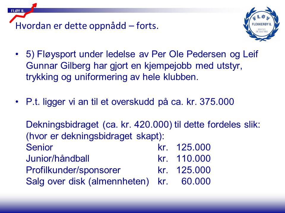 FLØY IL Hvordan er dette oppnådd – forts. 5) Fløysport under ledelse av Per Ole Pedersen og Leif Gunnar Gilberg har gjort en kjempejobb med utstyr, tr