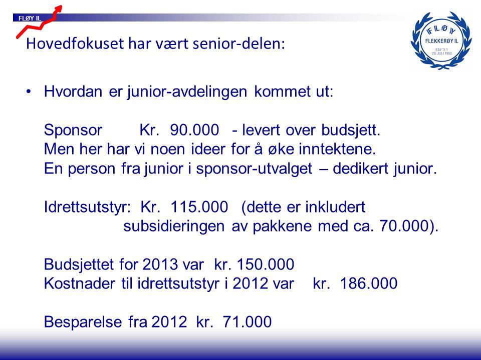 FLØY IL Hovedfokuset har vært senior-delen: Hvordan er junior-avdelingen kommet ut: Sponsor Kr.90.000 - levert over budsjett.