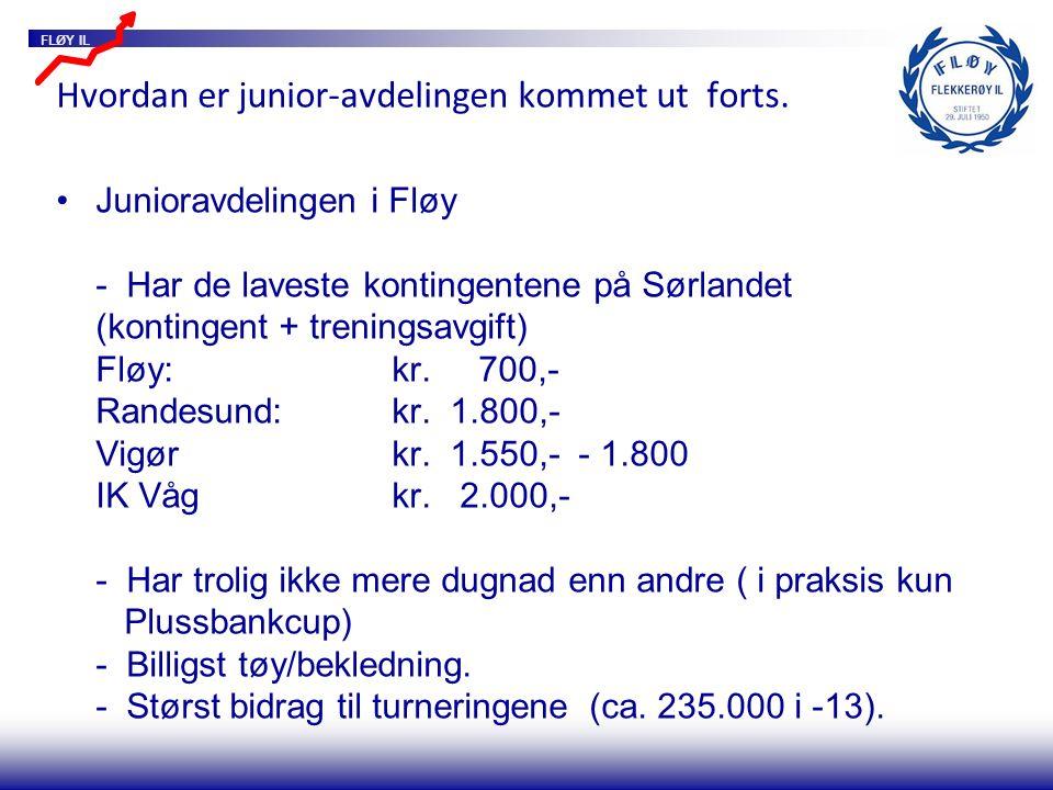 FLØY IL Hvordan er junior-avdelingen kommet ut forts. Junioravdelingen i Fløy - Har de laveste kontingentene på Sørlandet (kontingent + treningsavgift