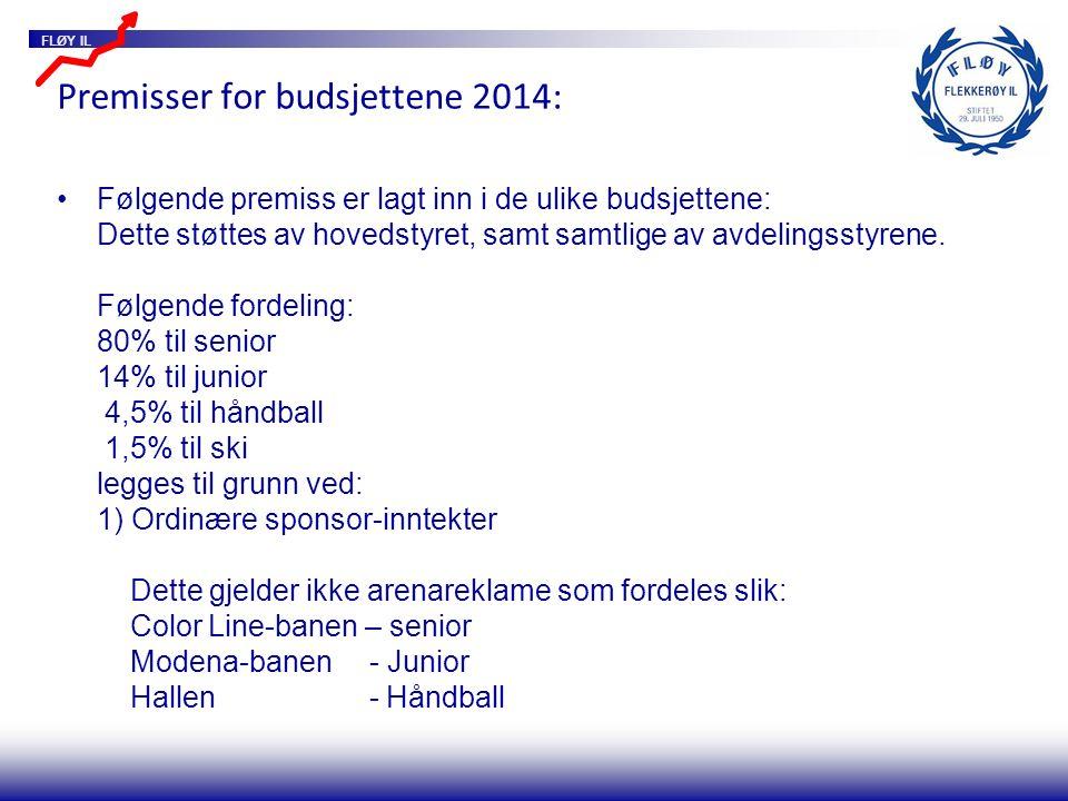 FLØY IL Premisser for budsjettene 2014: Følgende premiss er lagt inn i de ulike budsjettene: Dette støttes av hovedstyret, samt samtlige av avdelingsstyrene.