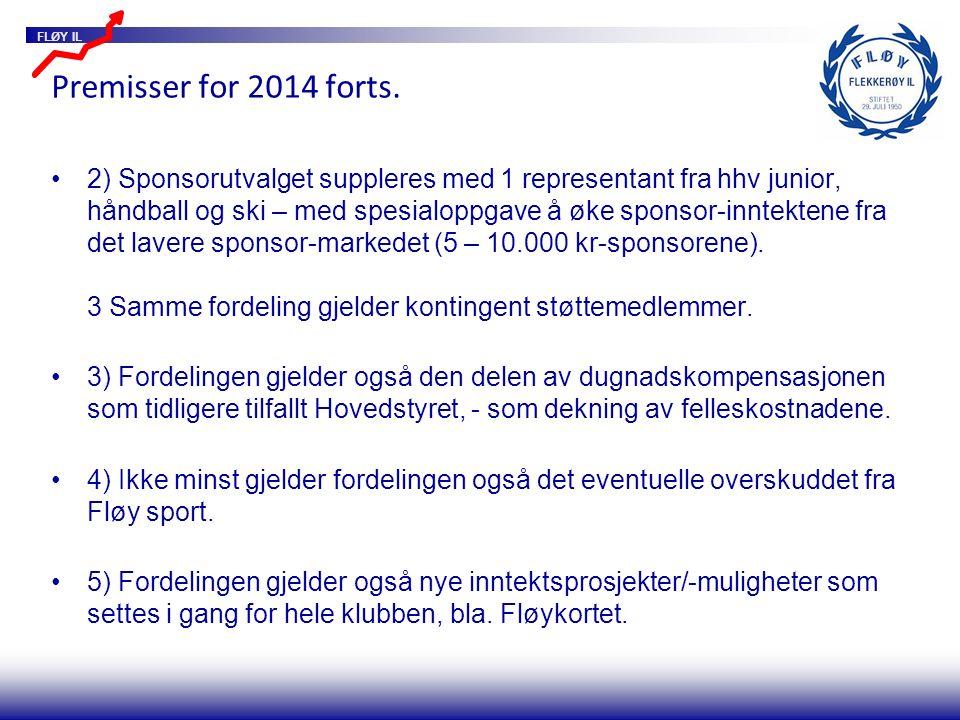 FLØY IL Premisser for 2014 forts. 2) Sponsorutvalget suppleres med 1 representant fra hhv junior, håndball og ski – med spesialoppgave å øke sponsor-i