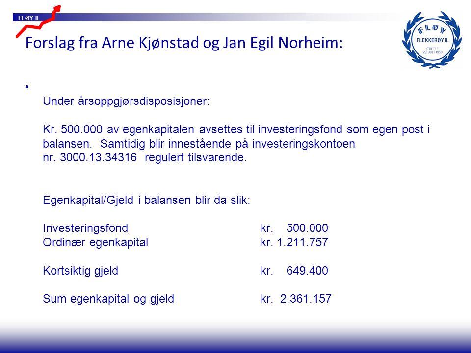 FLØY IL Forslag fra Arne Kjønstad og Jan Egil Norheim: Under årsoppgjørsdisposisjoner: Kr. 500.000 av egenkapitalen avsettes til investeringsfond som
