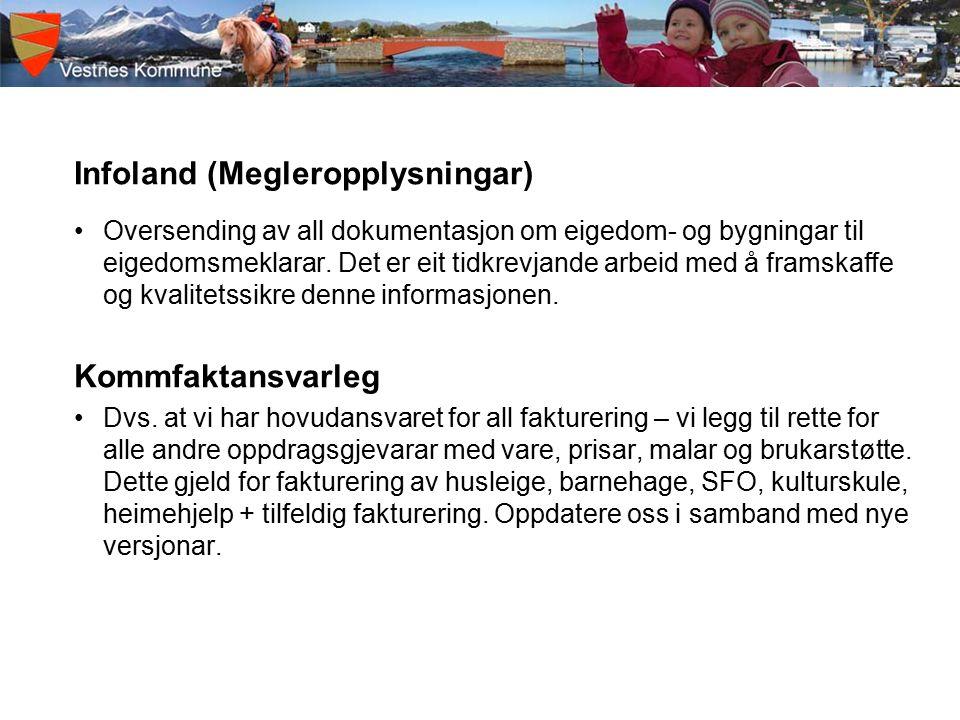 Infoland (Megleropplysningar) Oversending av all dokumentasjon om eigedom- og bygningar til eigedomsmeklarar.