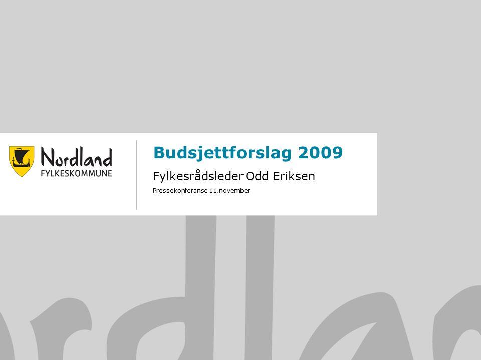 1 Budsjettforslag 2009 Fylkesrådsleder Odd Eriksen Pressekonferanse 11.november