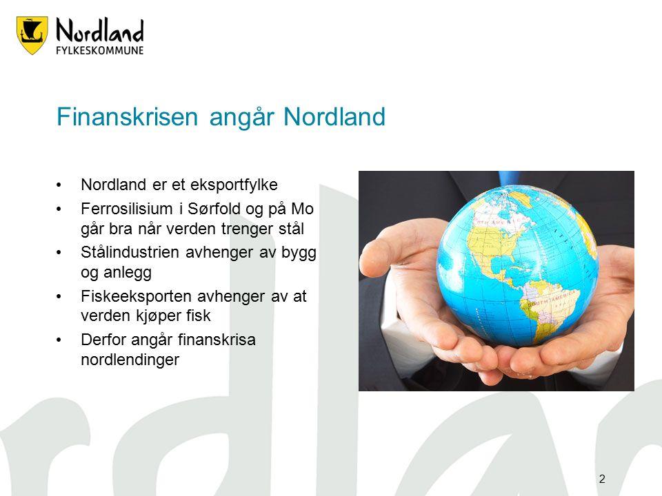 2 Finanskrisen angår Nordland Nordland er et eksportfylke Ferrosilisium i Sørfold og på Mo går bra når verden trenger stål Stålindustrien avhenger av bygg og anlegg Fiskeeksporten avhenger av at verden kjøper fisk Derfor angår finanskrisa nordlendinger