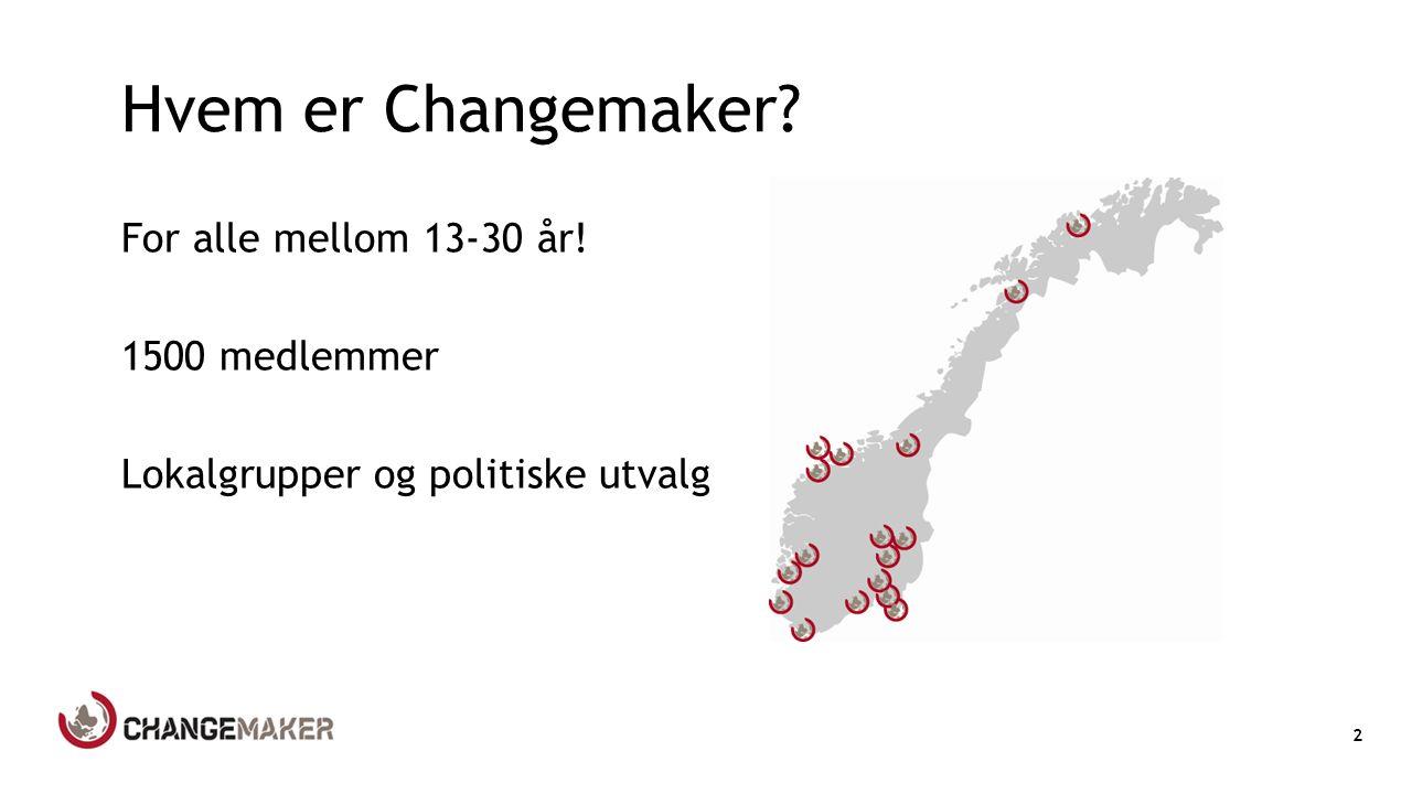 Hvem er Changemaker For alle mellom 13-30 år! 1500 medlemmer Lokalgrupper og politiske utvalg 2