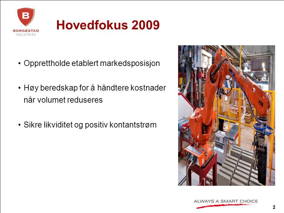 2 Hovedfokus 2009 Opprettholde etablert markedsposisjon Høy beredskap for å håndtere kostnader når volumet reduseres Sikre likviditet og positiv kontantstrøm