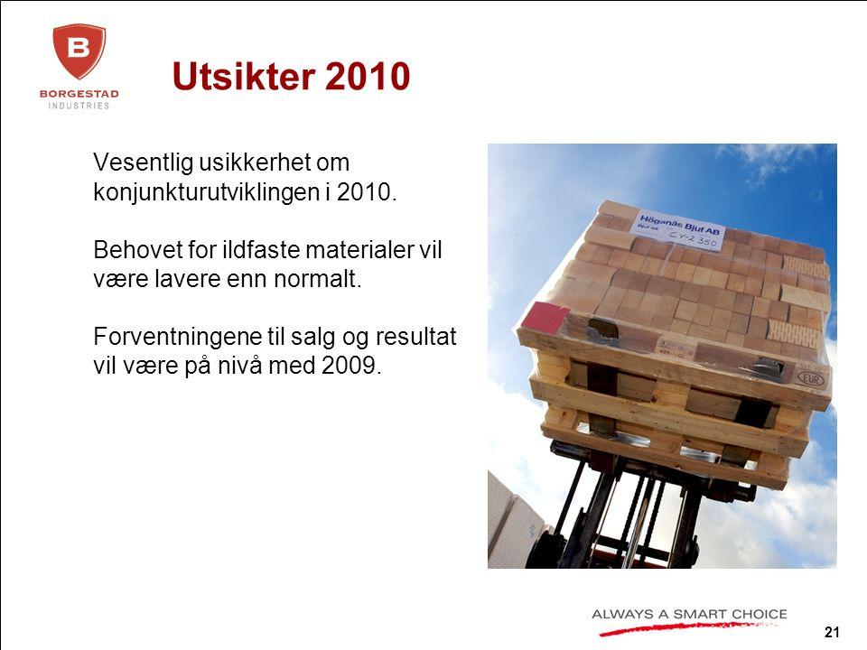 21 Utsikter 2010 Vesentlig usikkerhet om konjunkturutviklingen i 2010.