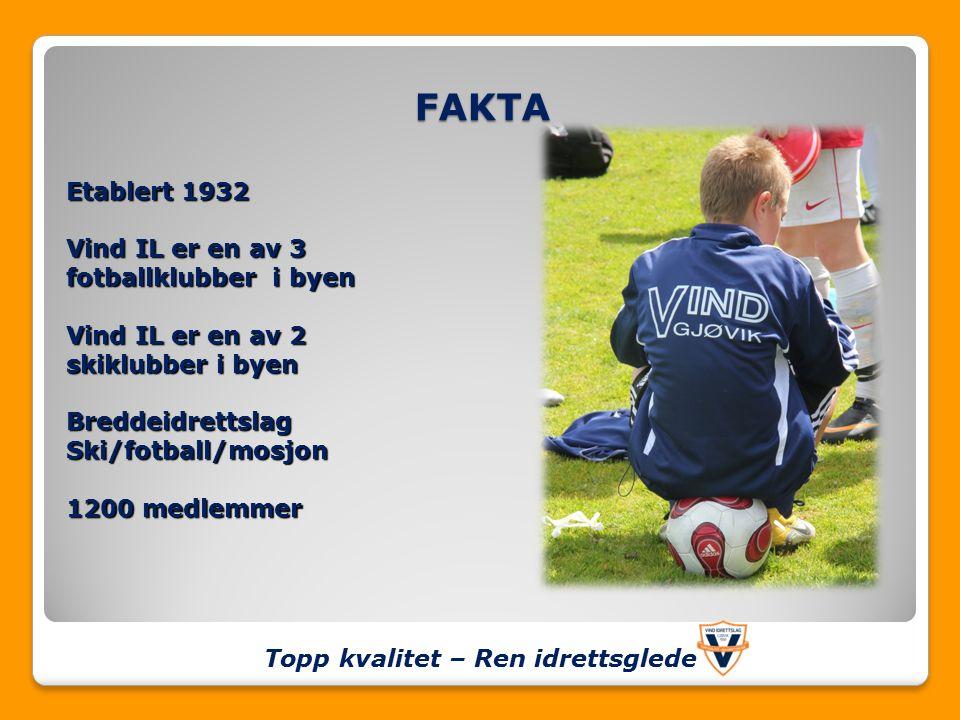 FAKTA Topp kvalitet – Ren idrettsglede Etablert 1932 Vind IL er en av 3 fotballklubber i byen Vind IL er en av 2 skiklubber i byen BreddeidrettslagSki/fotball/mosjon 1200 medlemmer