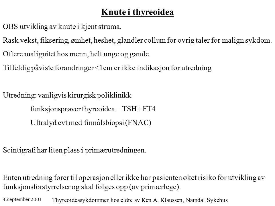 4.september 2001 Thyreoideasykdommer hos eldre av Ken A. Klaussen, Namdal Sykehus Knute i thyreoidea OBS utvikling av knute i kjent struma. Rask vekst