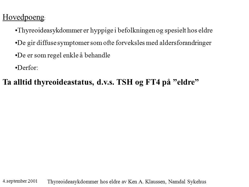 4.september 2001 Thyreoideasykdommer hos eldre av Ken A. Klaussen, Namdal Sykehus Hovedpoeng : Thyreoideasykdommer er hyppige i befolkningen og spesie