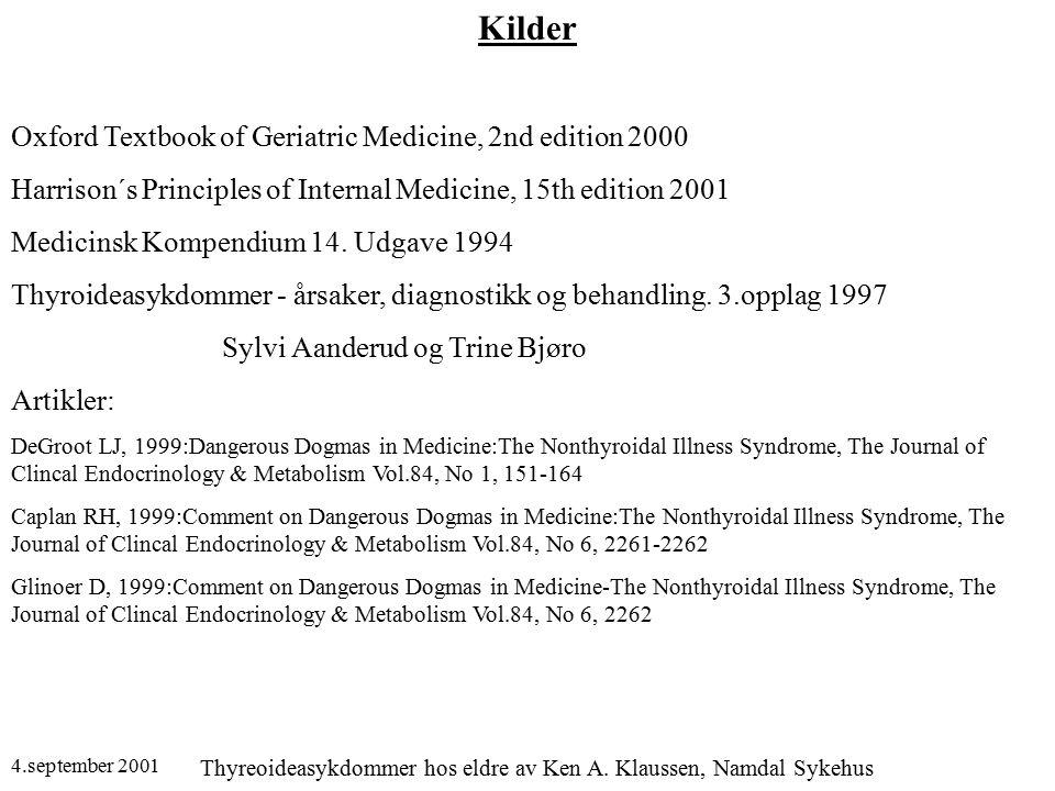 4.september 2001 Thyreoideasykdommer hos eldre av Ken A. Klaussen, Namdal Sykehus Kilder Oxford Textbook of Geriatric Medicine, 2nd edition 2000 Harri