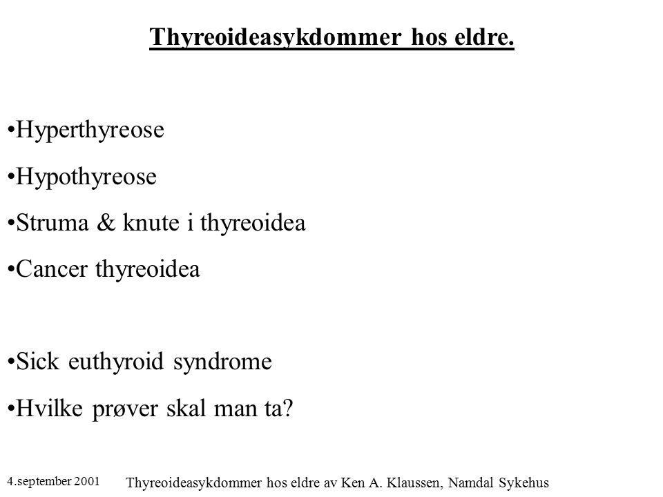 4.september 2001 Thyreoideasykdommer hos eldre av Ken A. Klaussen, Namdal Sykehus Thyreoideasykdommer hos eldre. Hyperthyreose Hypothyreose Struma & k