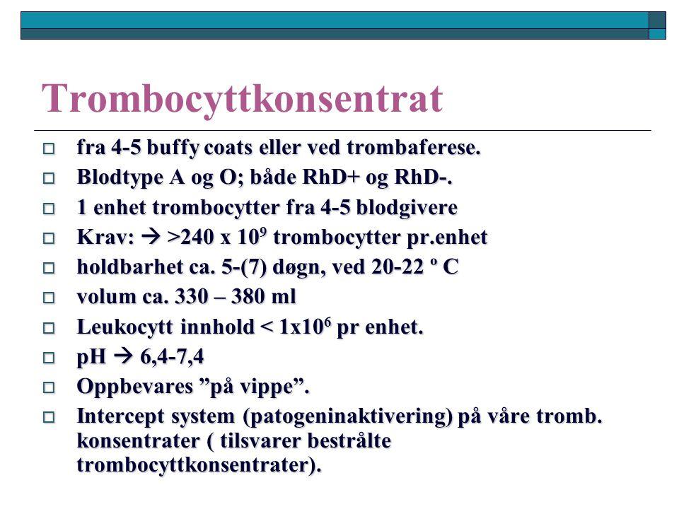 Trombocyttkonsentrat  fra 4-5 buffy coats eller ved trombaferese.