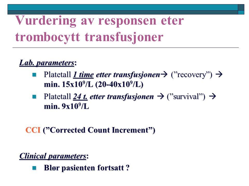 Vurdering av responsen eter trombocytt transfusjoner Lab.