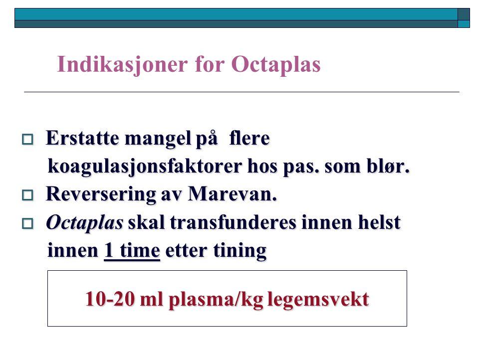Indikasjoner for Octaplas  Erstatte mangel på flere koagulasjonsfaktorer hos pas.