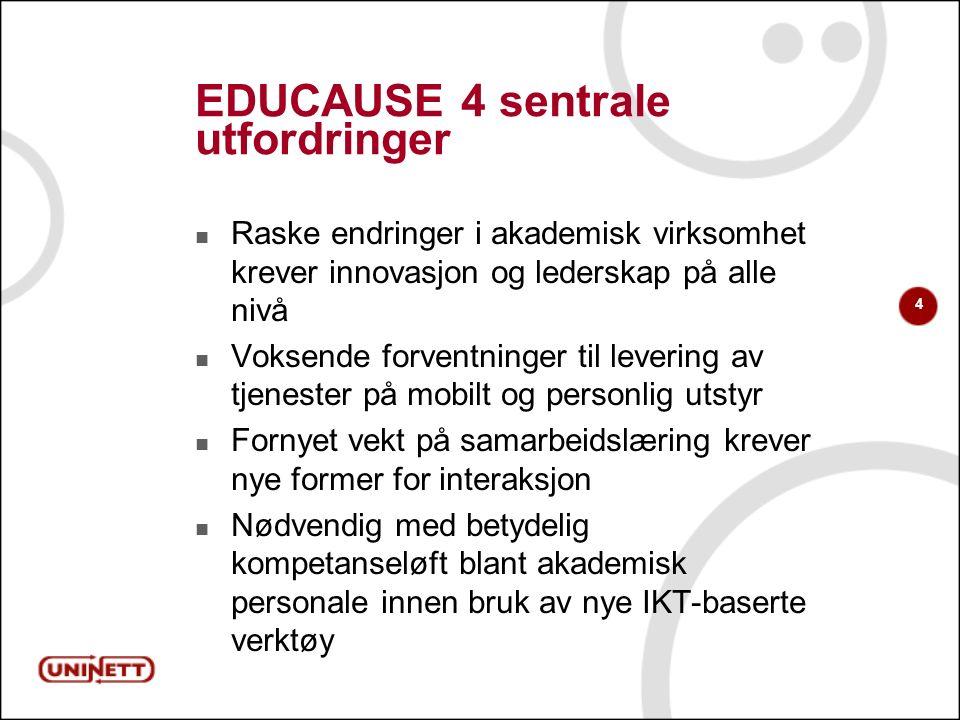 4 EDUCAUSE 4 sentrale utfordringer Raske endringer i akademisk virksomhet krever innovasjon og lederskap på alle nivå Voksende forventninger til lever
