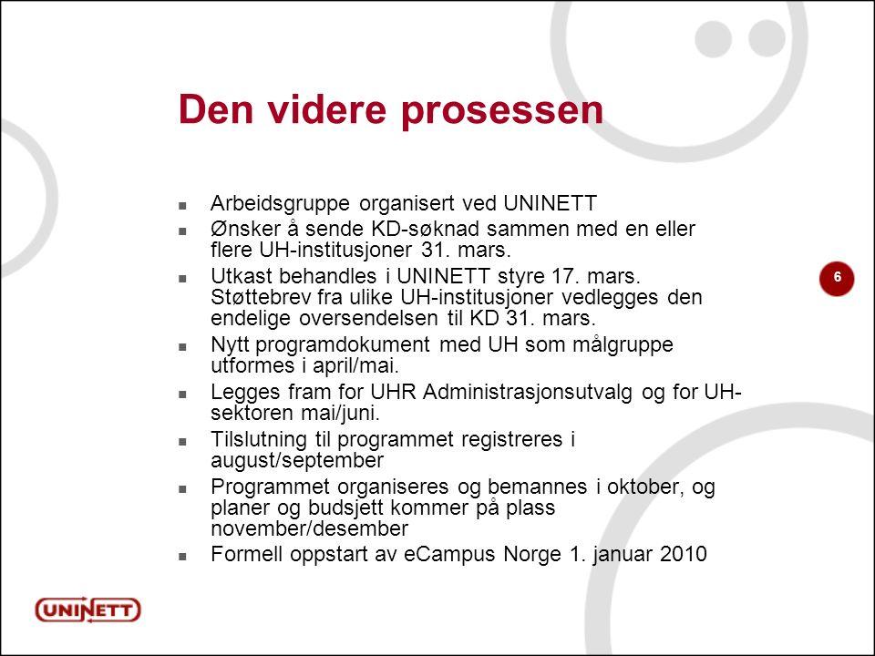 6 Den videre prosessen Arbeidsgruppe organisert ved UNINETT Ønsker å sende KD-søknad sammen med en eller flere UH-institusjoner 31. mars. Utkast behan