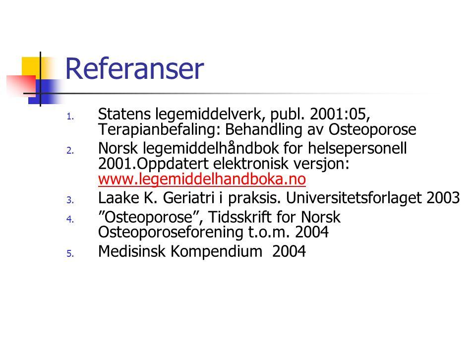 Referanser 1. Statens legemiddelverk, publ. 2001:05, Terapianbefaling: Behandling av Osteoporose 2. Norsk legemiddelhåndbok for helsepersonell 2001.Op