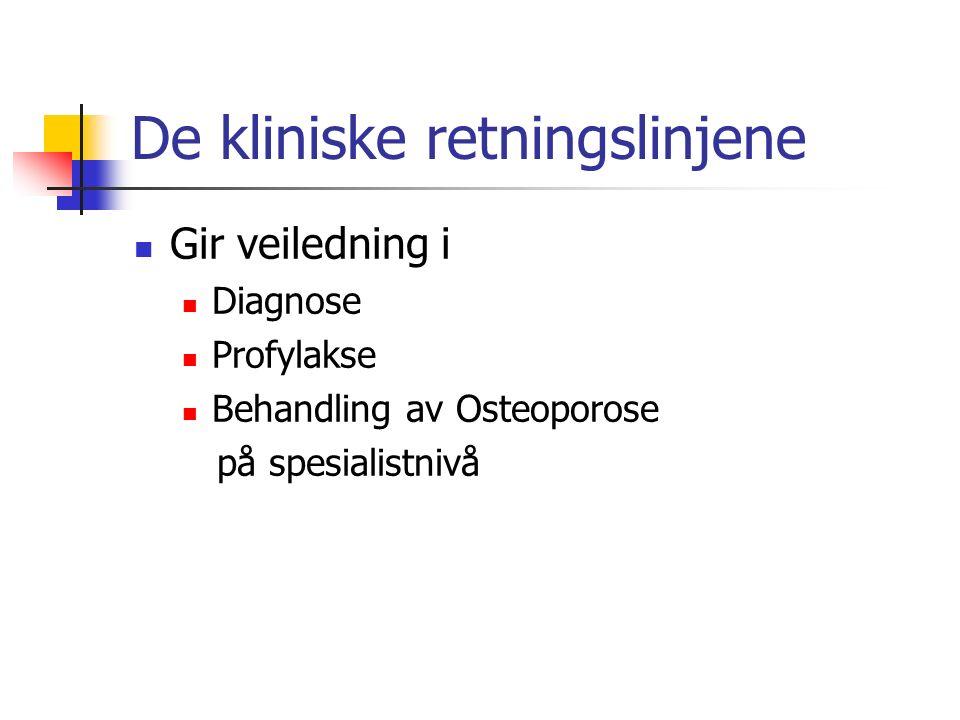 De kliniske retningslinjene Gir veiledning i Diagnose Profylakse Behandling av Osteoporose på spesialistnivå