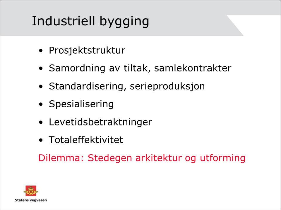Industriell bygging Prosjektstruktur Samordning av tiltak, samlekontrakter Standardisering, serieproduksjon Spesialisering Levetidsbetraktninger Totaleffektivitet Dilemma: Stedegen arkitektur og utforming