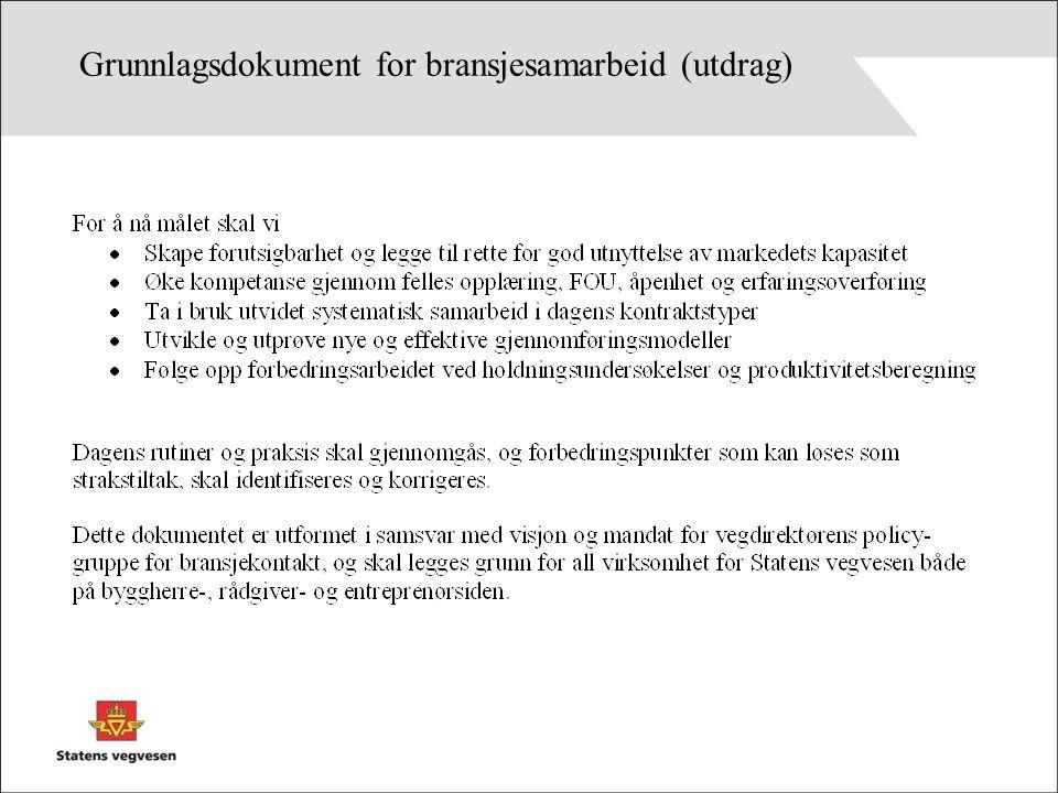 Grunnlagsdokument for bransjesamarbeid (utdrag)