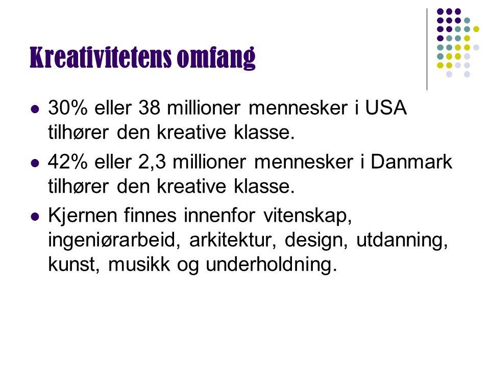 Kreativitetens omfang 30% eller 38 millioner mennesker i USA tilhører den kreative klasse. 42% eller 2,3 millioner mennesker i Danmark tilhører den kr