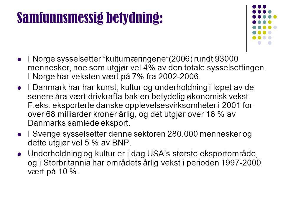 """Samfunnsmessig betydning: I Norge sysselsetter """"kulturnæringene""""(2006) rundt 93000 mennesker, noe som utgjør vel 4% av den totale sysselsettingen. I N"""